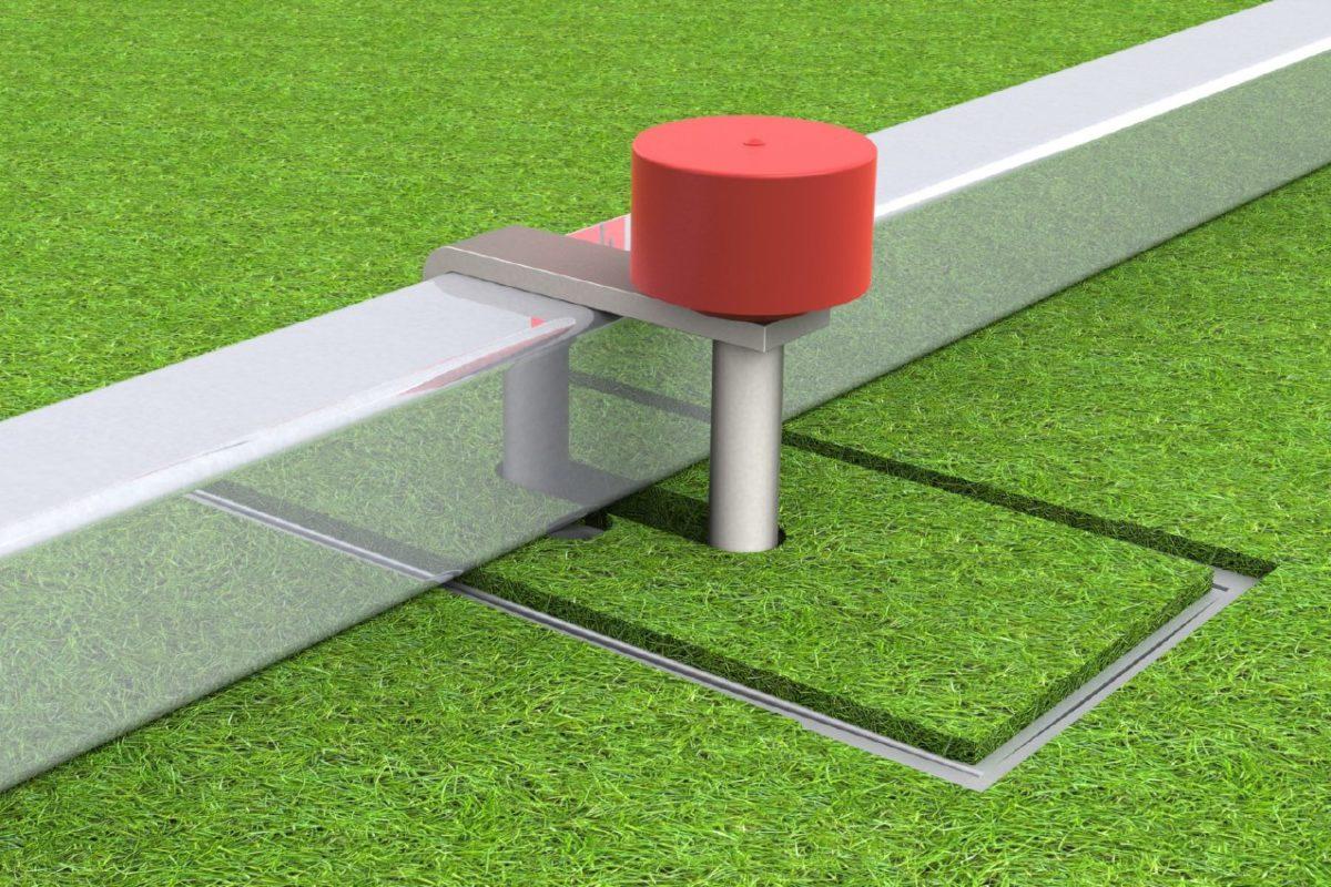 Klemmbodenhülse für Handballtore, mit festverbundenem Kippdeckel, patentgeschützt von artec Sportgeräte