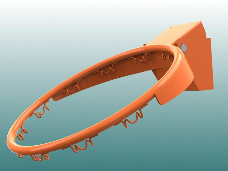 Basketballkorb aus Stahl, feuerverzinkt und pulverbeschichtet, Farbe: orange von artec Sportgeräte