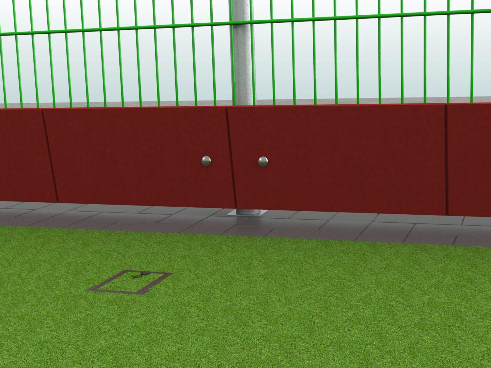 Prallschutzbohle für Hockeyfelder aus Aluminium / Kunststoff von artec Sportgeräte 180 m