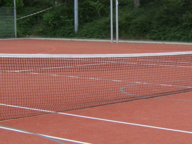 Tennisnetz aus Polypropylen, 3 mm, mit 5 durchgehenden Doppelreihen, Farbe: schwarz von artec Sportgeräte