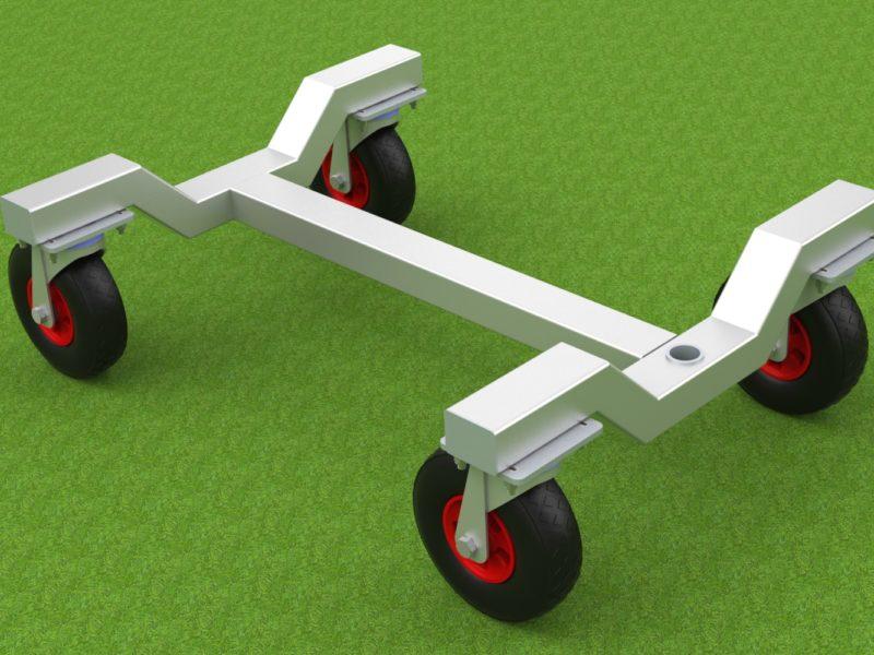 Transportwagen für mobile Tore aus Aluminium von artec Sportgeräte