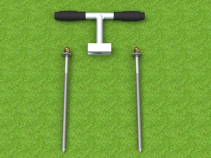 Erdanker - Nägel für Tore, zur Verankerung von Toren im Boden, mit Aushebegerät, von artec