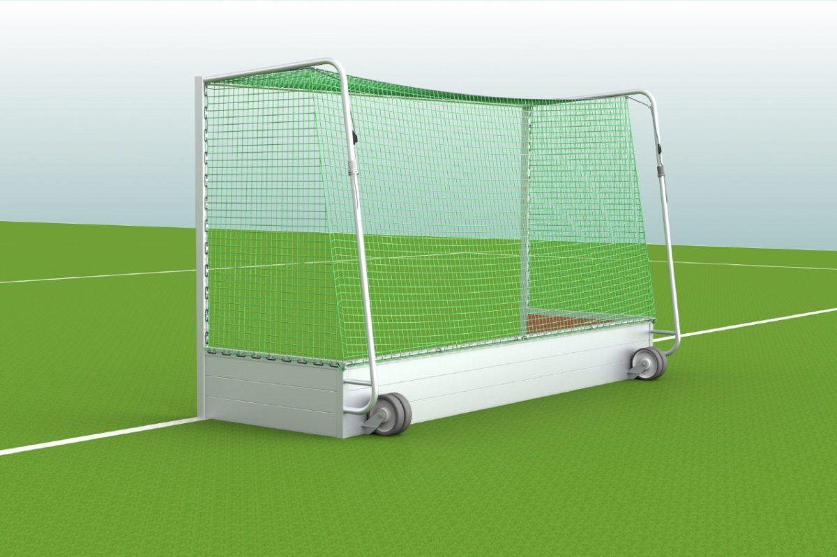 Hockeytor aus Aluminium, eingefräste Netzaufhängung und Netzsicherung, Transportrollen, Hartholzkern in den Pfosten, Farbe: Alu natur von artec