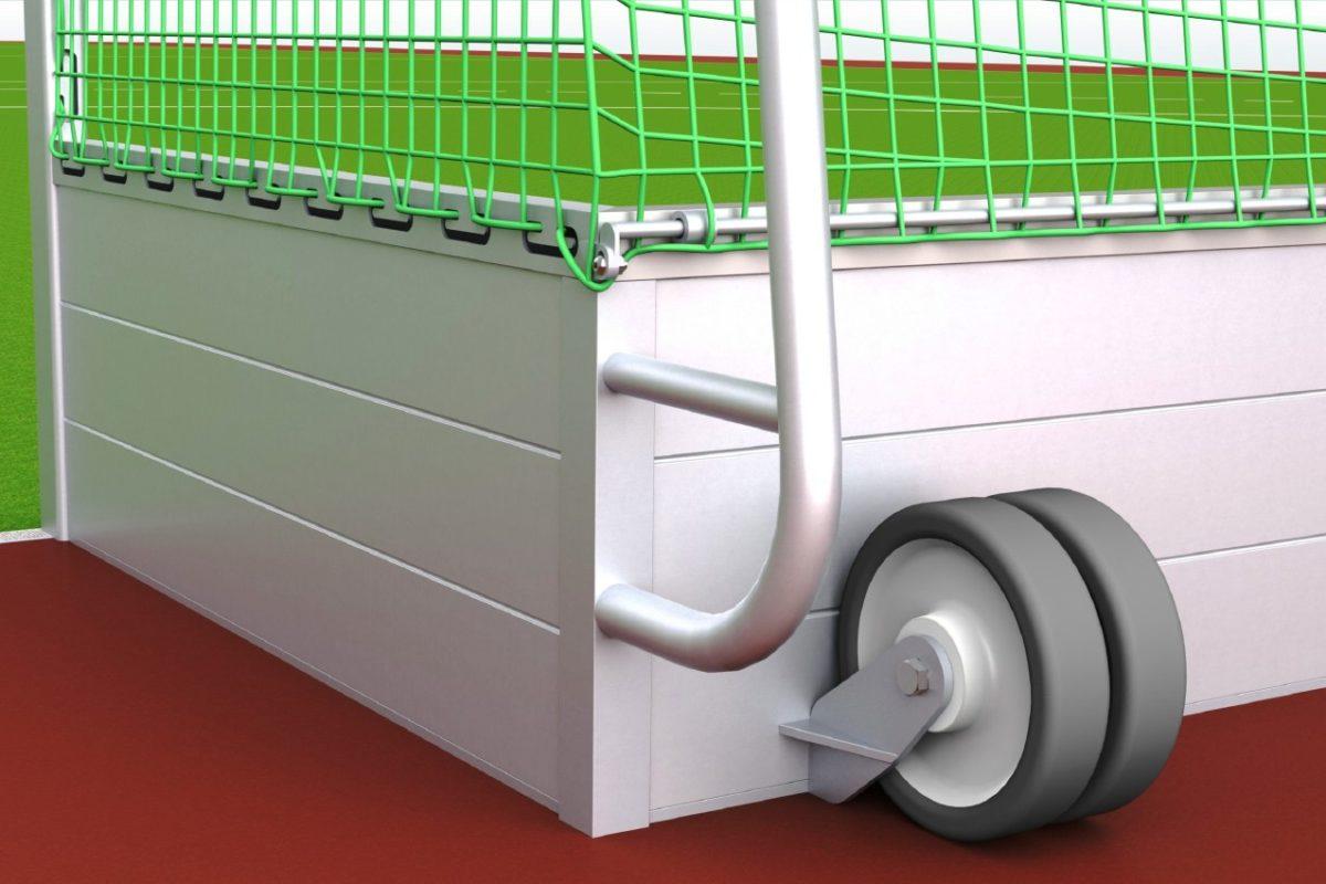 Hockeytor aus Aluminium, eingefräste Netzaufhängung und Netzsicherung, Transportrollen, Hartholzkern in den Pfosten, Farbe: Alu natur von artec Sportgeräte