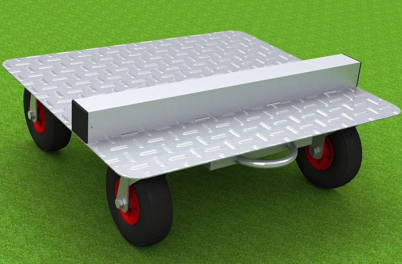 Transportwagen für Spielerkabinen mit ausgeschäumten Lufträdern