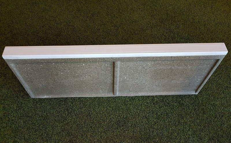 Soft-Randstein aus Polymerbeton mit Gummiprofil, weiß, Abmessung 500/60/400 mm