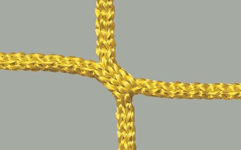 Netz für Fußballtore mit wabenförmigen Maschen in Gelb